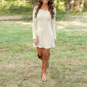 Round Neck Long Sleeve Plain Knitting Skater Dress