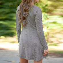 Load image into Gallery viewer, Round Neck Long Sleeve Plain Knitting Skater Dress