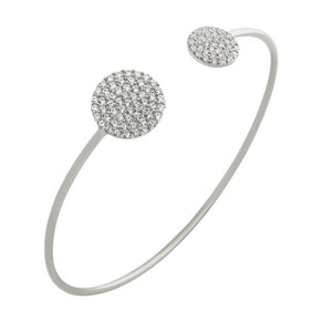 RHODIUM PLATED CZ DOUBLE ROUND DESIGN BANGLE
