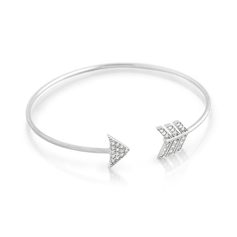 RHODIUM PLATED CZ ARROW DESIGN BANGLE