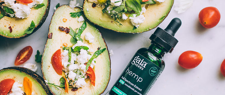 Avocado Boats with Gaia Herbs Hemp-Infused Chevre