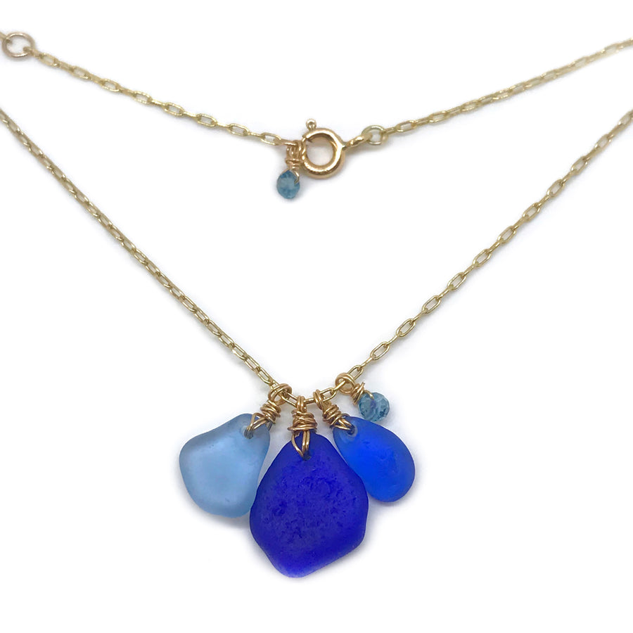 Blue Seaglass Cluster Gold Necklace