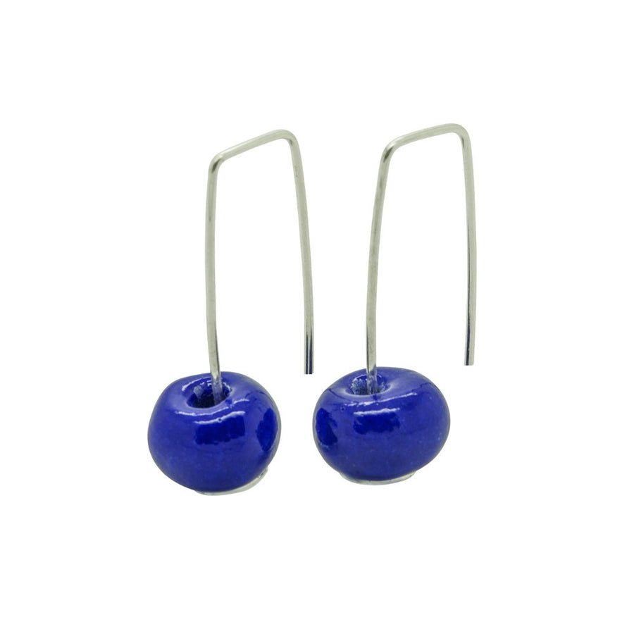 Short Silver Earrings with Dark Blue Ceramic Bead