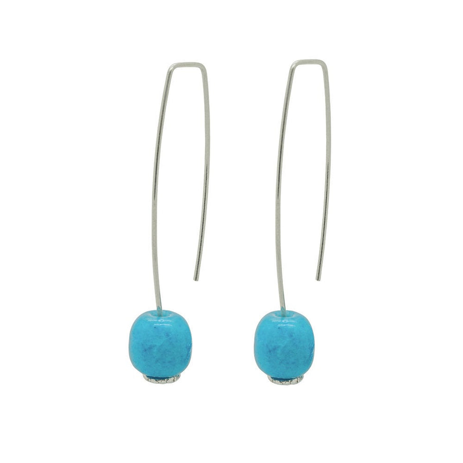 Long Silver Earrings Long with Turquoise Ceramic Barrel Bead