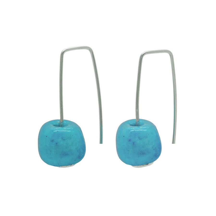 Short Silver Earrings with Turquoise Ceramic Bead