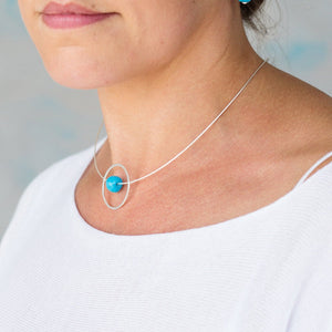 Silver Circle Necklace with Turquoise Round Ceramic Bead