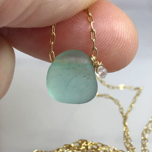 Aqua Seaglass Short Gold Necklace