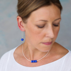 Long Silver Earrings with Cornflower Blue Ceramic Beads