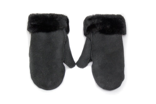 Black Ladies Sheepskin Mittens