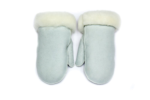 Grey Ladies Sheepskin Mittens