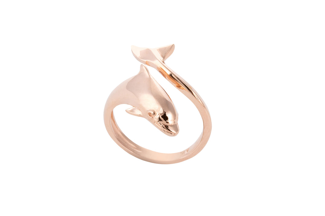 14K Rose Gold Dolphin Wrap Ring
