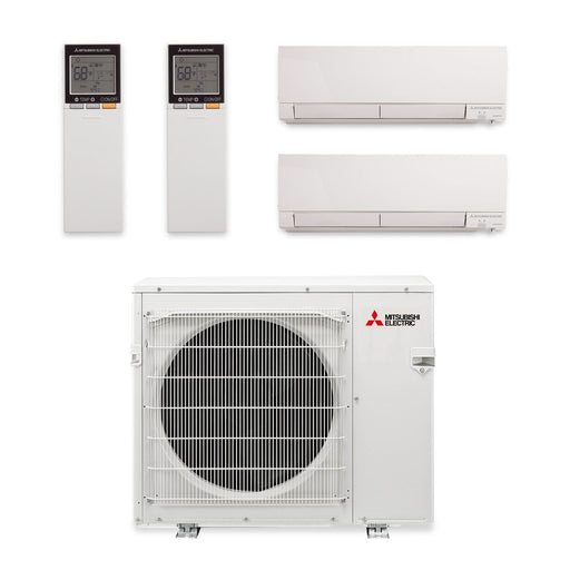 20,000 BTU Hyper Heat Dual-Zone Wall Mount Mini Split Air Conditioner 208-230V (9-9)