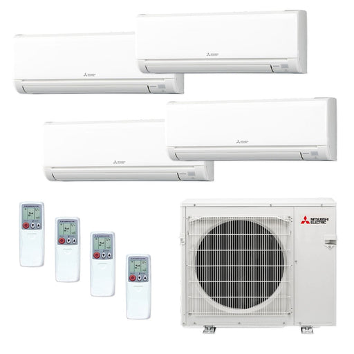 Mitsubishi MXZ4C36NA-4WS-12 - 36,000 BTU MR SLIM Quad-Zone Ductless Mini Split Air Conditioner Heat Pump 208-230V (6-6-12-15)