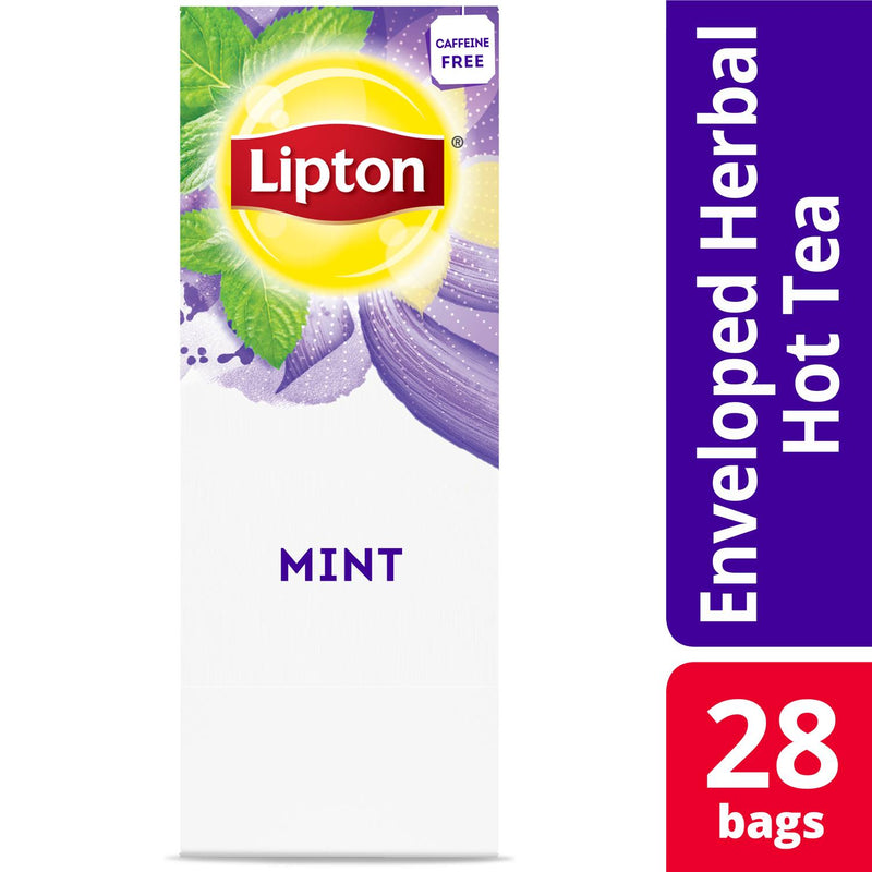 Lipton Hot Tea Bags Mint Herbal Tea 28 Count, Pack of 6