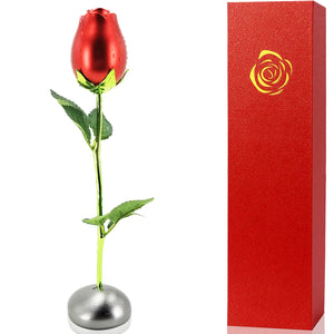 Artificial Metal Rose Bud with Pebble Stand