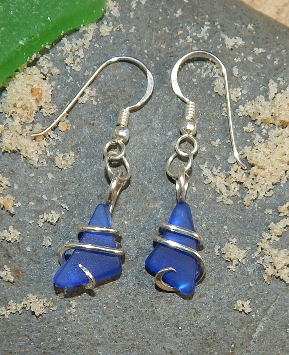 Blue Sea Glass Pair in Sterling Silver Tension Wrapped Earrings