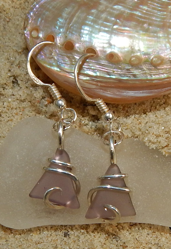 Lavender Sea Glass Pair in Sterling Silver Tension Wrapped Earrings