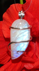 Moonstone Cabochon in Sterling Silver Tension Wrapped Pendant