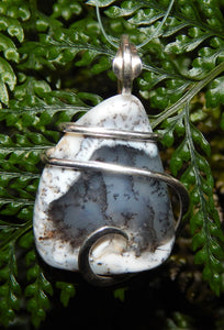 Dendritic Agate in Sterling Silver Tension Wrapped Pendant