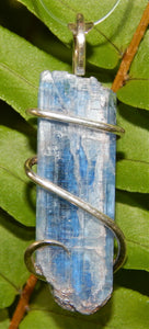 Blue Kyanite Crystal in Sterling Silver Tension Wrapped Pendant