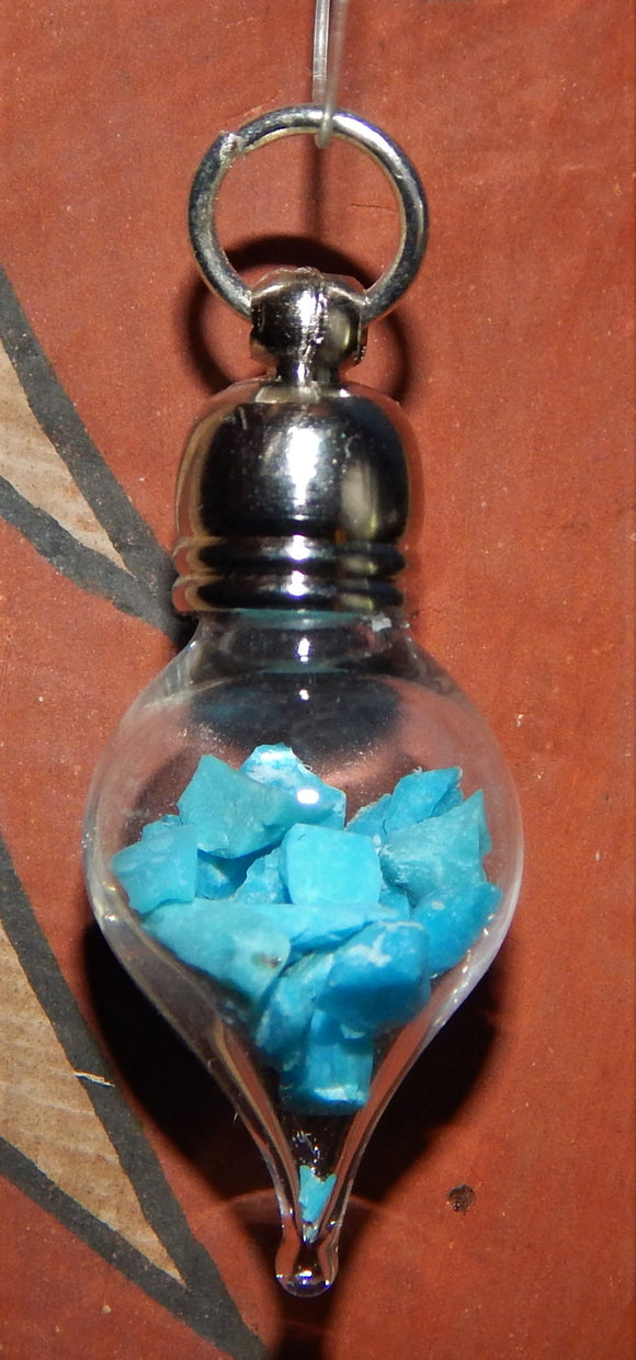 December Birthstone Turquoise Glass Vial Pendant