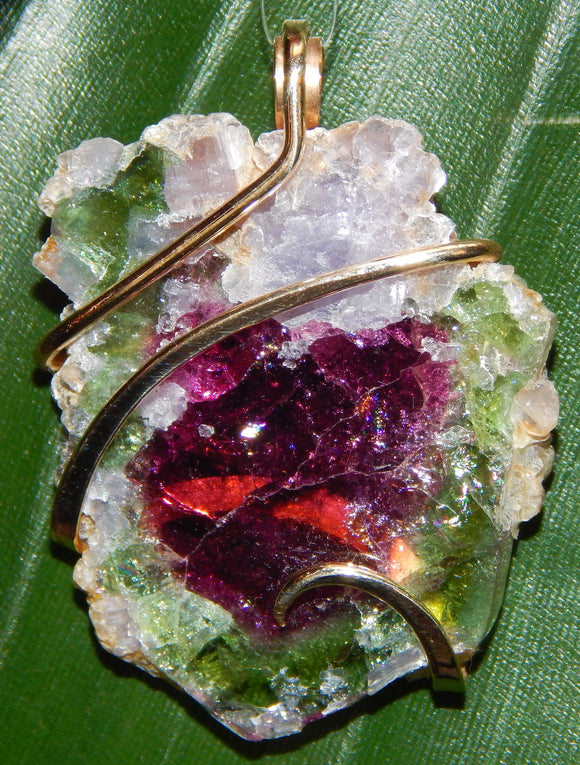 Watermelon Tourmaline Slice in 14kt Gold Tension Wrapped Pendant