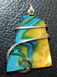 Bowlerite Shard in Sterling Silver Tension Wrapped Pendant