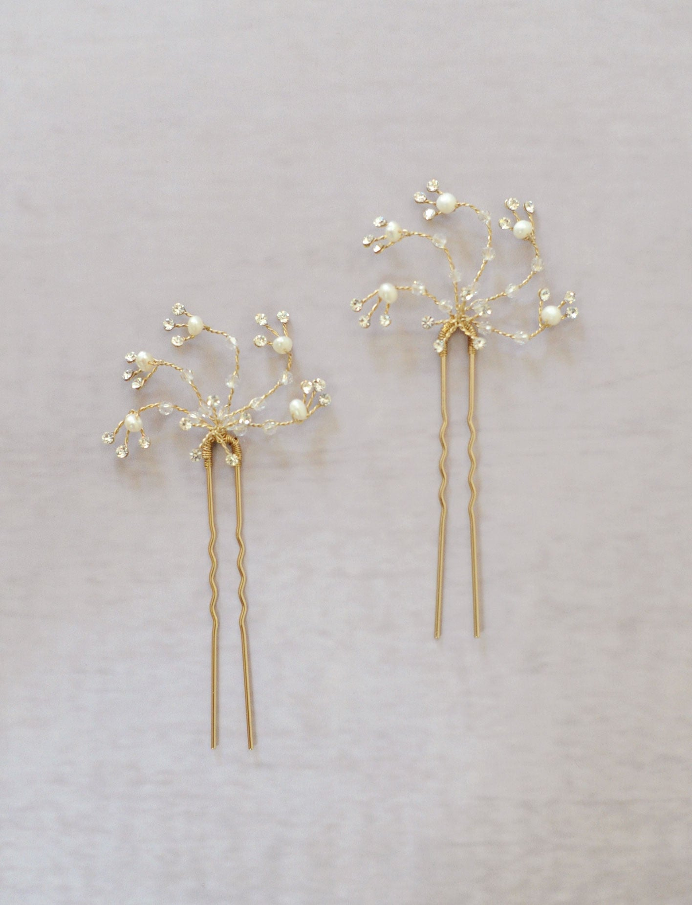 Crystal swirl bobby pin pair - Style #516