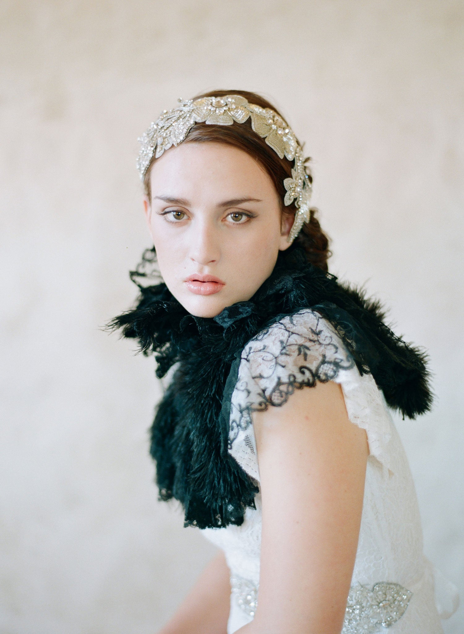 Glistening flower and crystal headband - Style #563