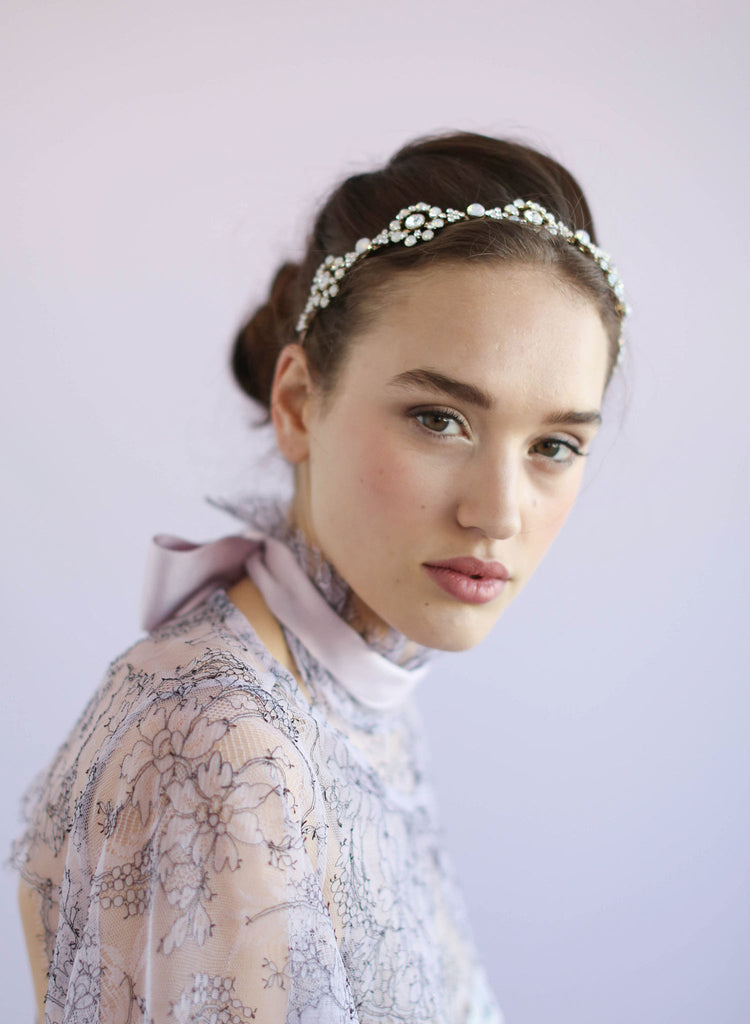 Opal circles bridal headband, twigs and honey, bridal headpiece, silver