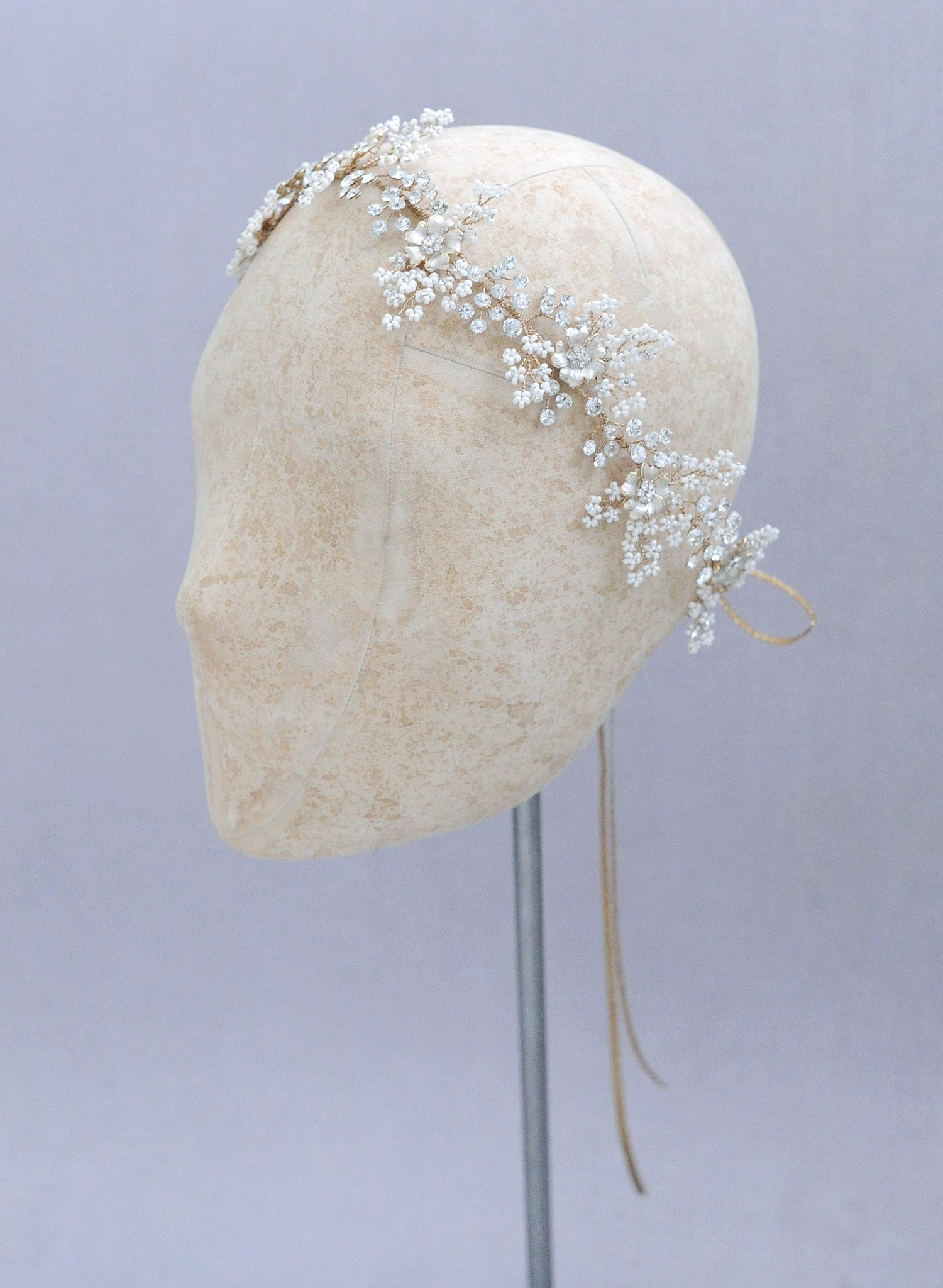Lush beaded blossom and crystal hair vine - Style #627