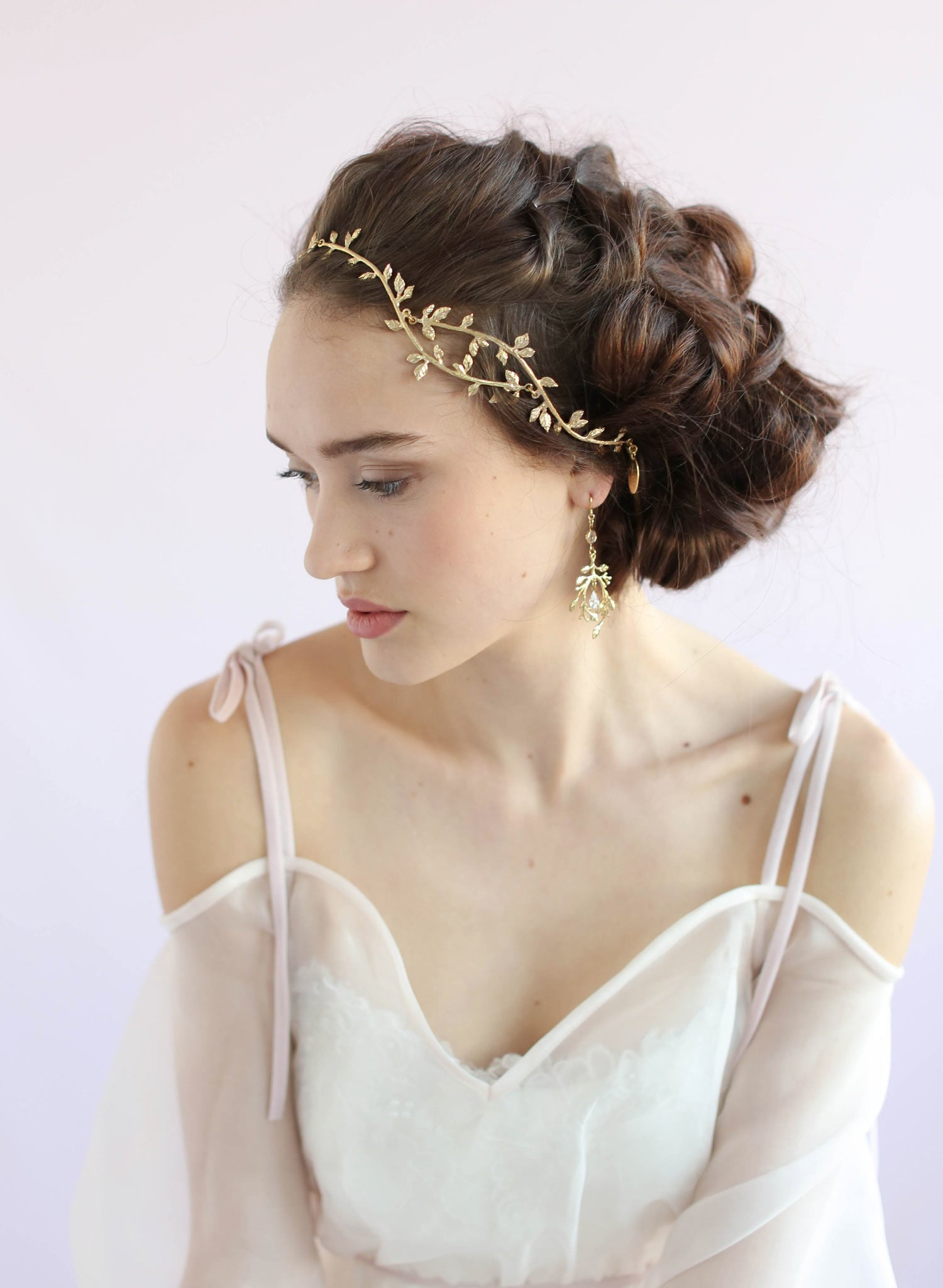 Delicate wavy gilded branch headpiece - Style #664