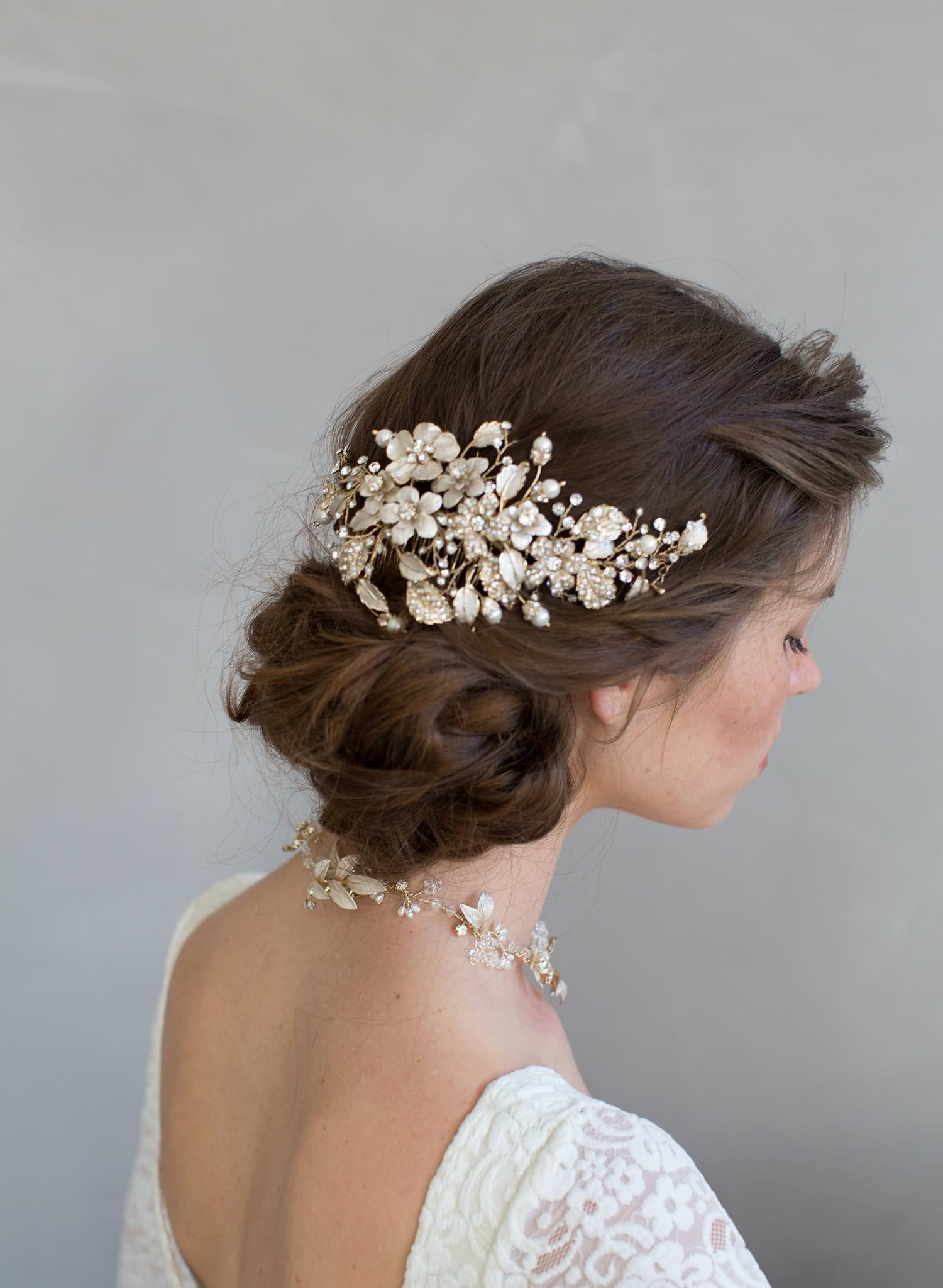 Crystals and foliage convertible hair comb - Style #7011