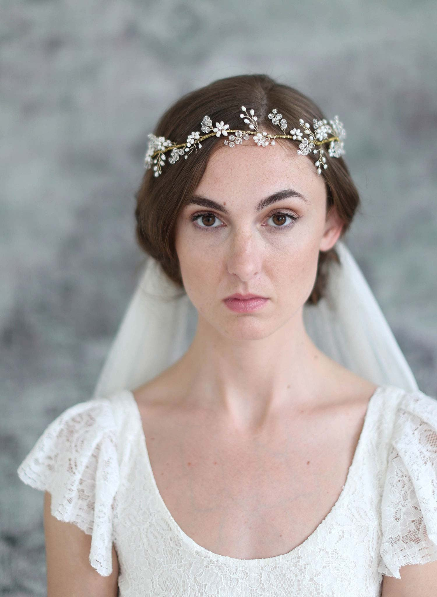 Crystal and blossom full crown lux train veil - Style #708