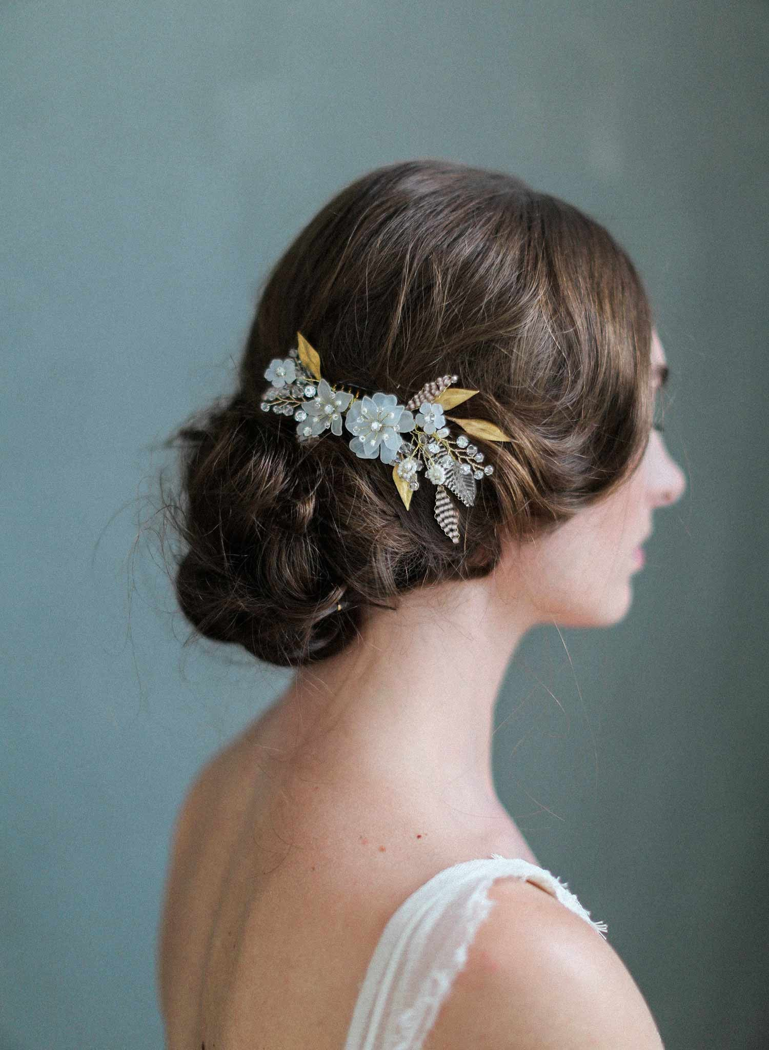 Mystic floral crystal hair comb - Style #716