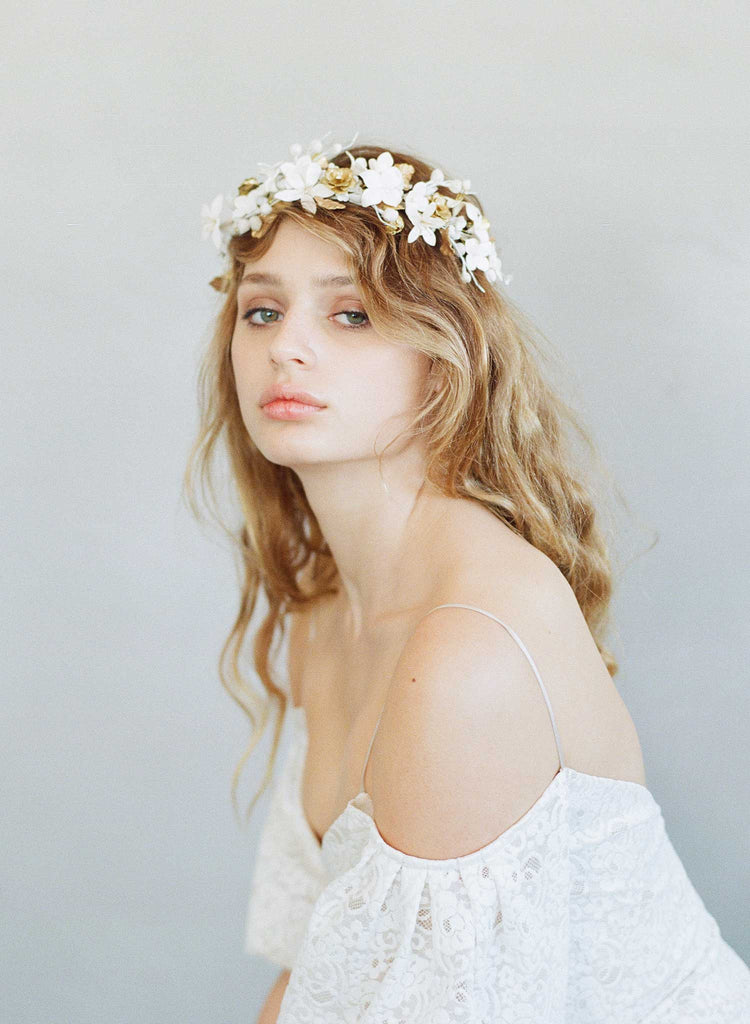 clay flower headpiece, bridal headband, floral headpiece, woodland inspired, wedding floral headband, twigs and honey