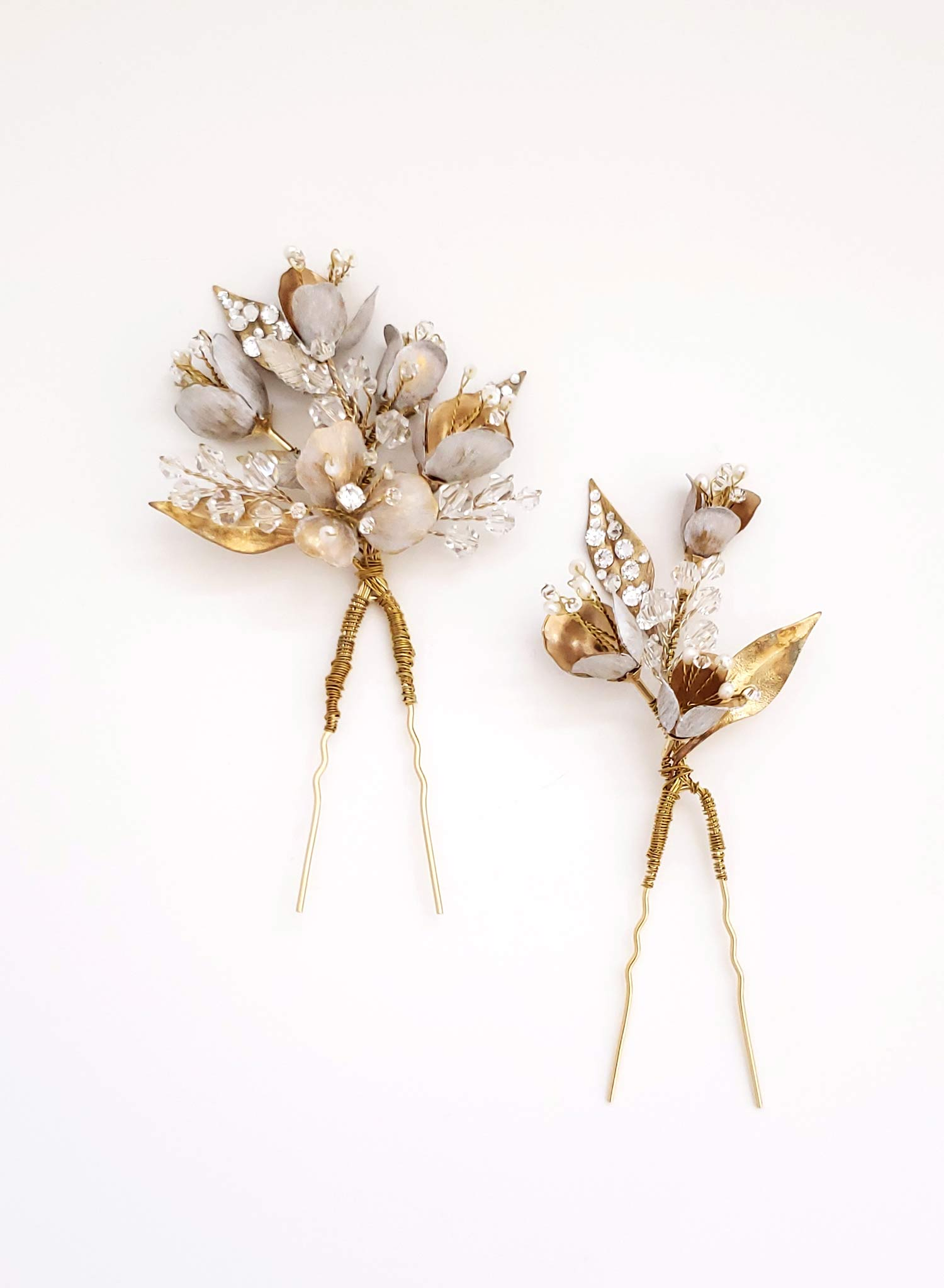 Antique blossom and bud hair pin set of 2 - Style #933