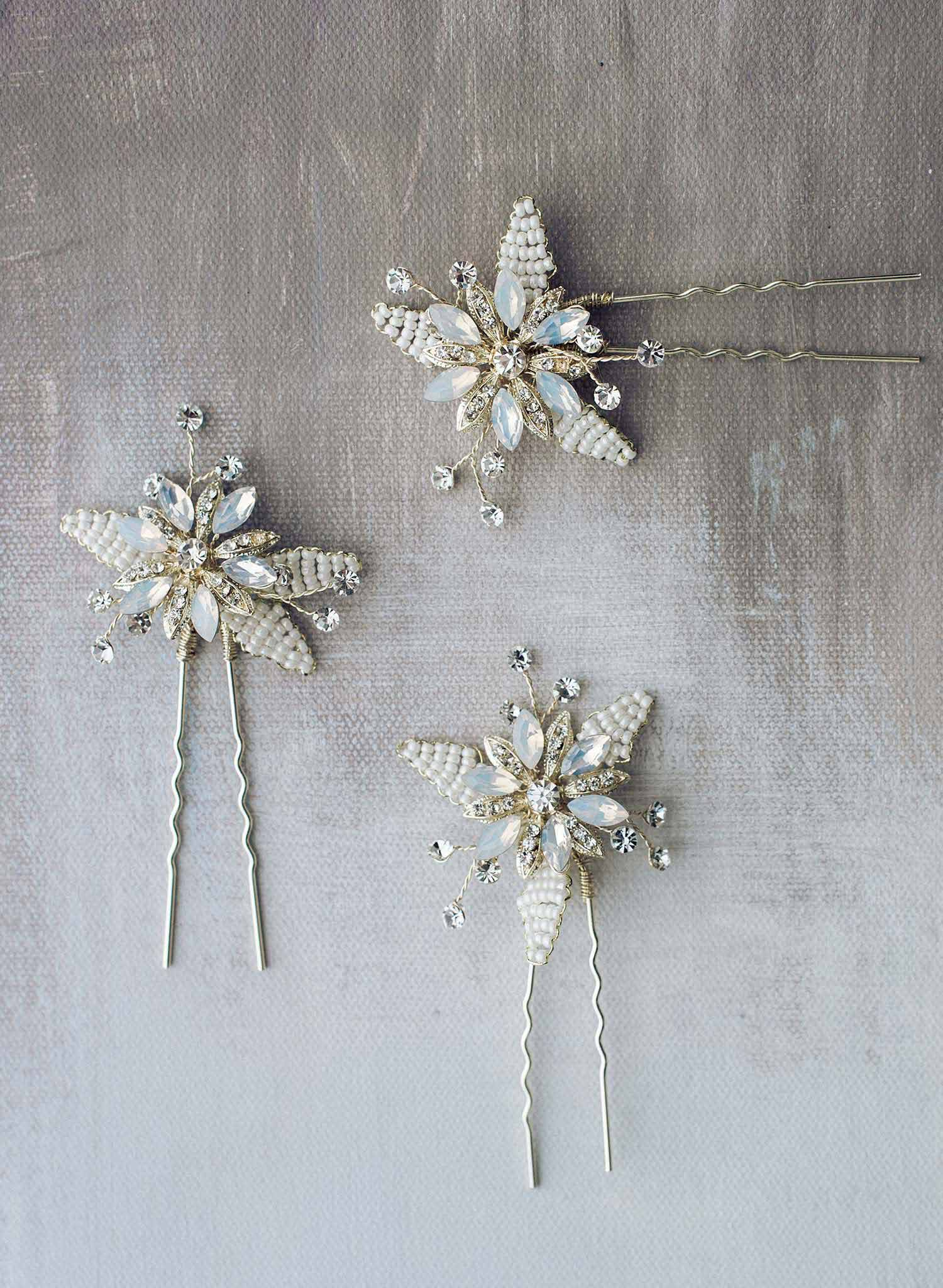 Beaded opal starburst pin set of 3 - Style #9012