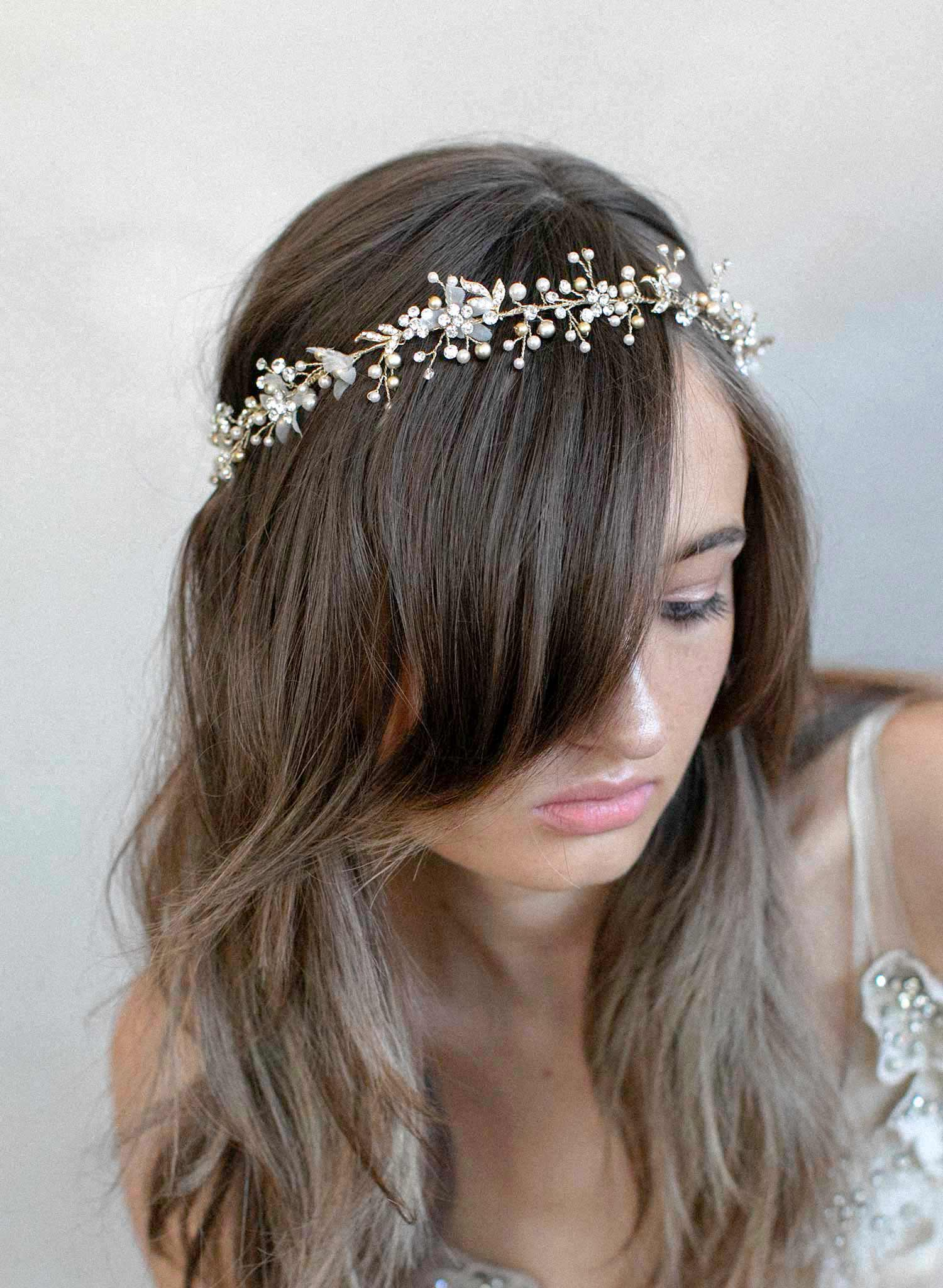 Pearl and silk blossom hair vine - Style #908