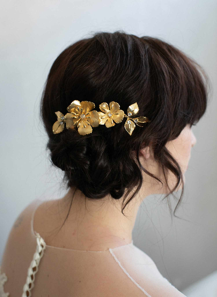 bridal hair comb, hair comb, wedding hair accessory, twigs and honey, golden bridal hair comb, floral bridal comb