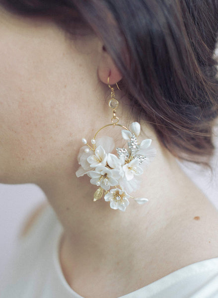 Creamy blossom and silk flower earrings