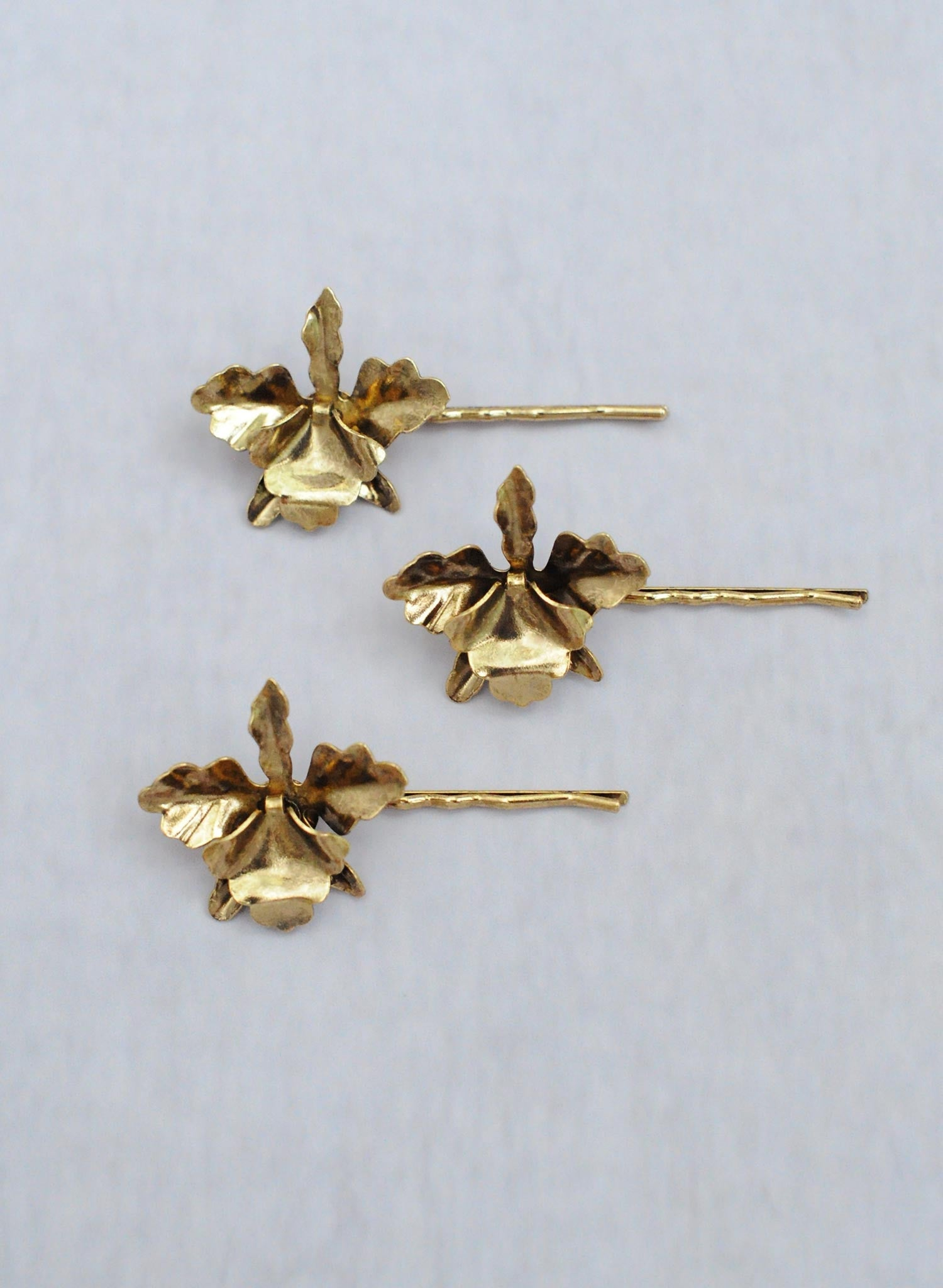 Gold plated petite orchid bobby pin set of 3 - Style #360