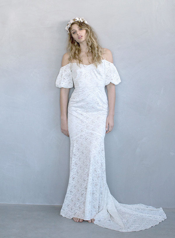 Bohemian wedding dress, boho wedding gown, bridal gown, lace, off the shoulder dress, ivory, twigs and honey