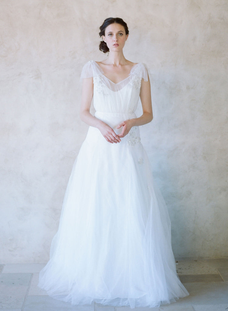 silk tulle ball gown, bow sleeves, embroidered wedding dress, twigs and honey