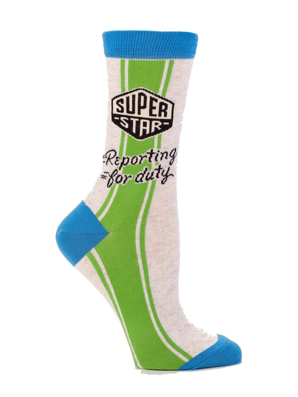 Blue Q Womens SW461 Cotton Crew Fashion Socks, Superstar Reporting, One Size