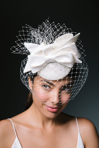 Charlotte Birdcage Veil Fascinator with Bows by Genevieve Rose Atelier