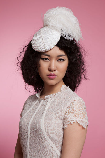 Beaded Bridal Fascinator with Feather Pompom by Genevieve Rose Atelier