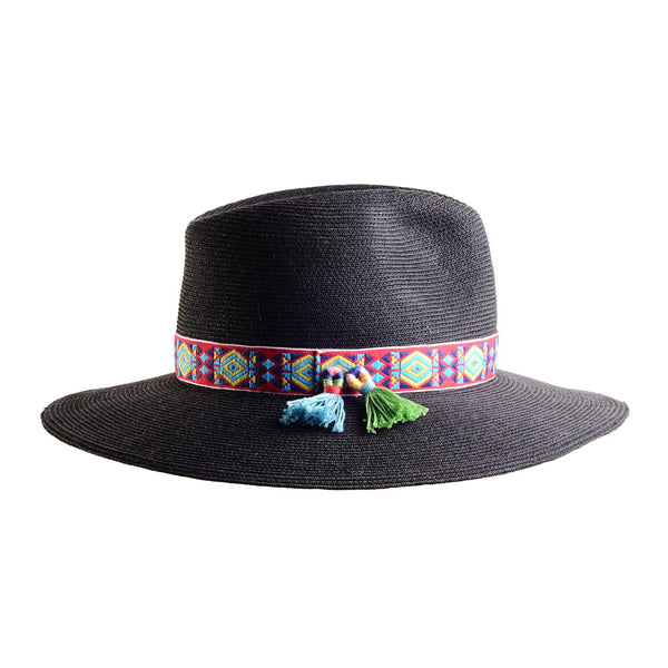 Large Black Straw Fedora with Mexican Tassels by Genevieve Rose Atelier