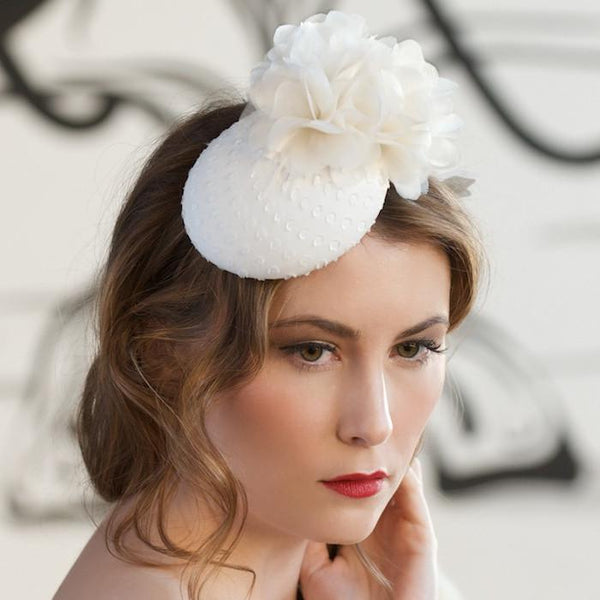 Bridal Fascinator with Organza Flowers by Genevieve Rose Atelier