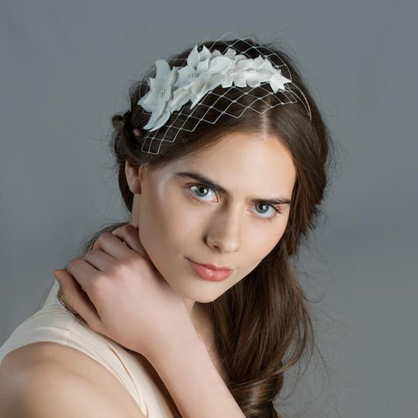Bridal Headband with Velvet Flowers and Short Veil by Genevieve Rose Atelier